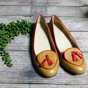 C Wonder Tan and Red Piped Tassel Flat Loafers